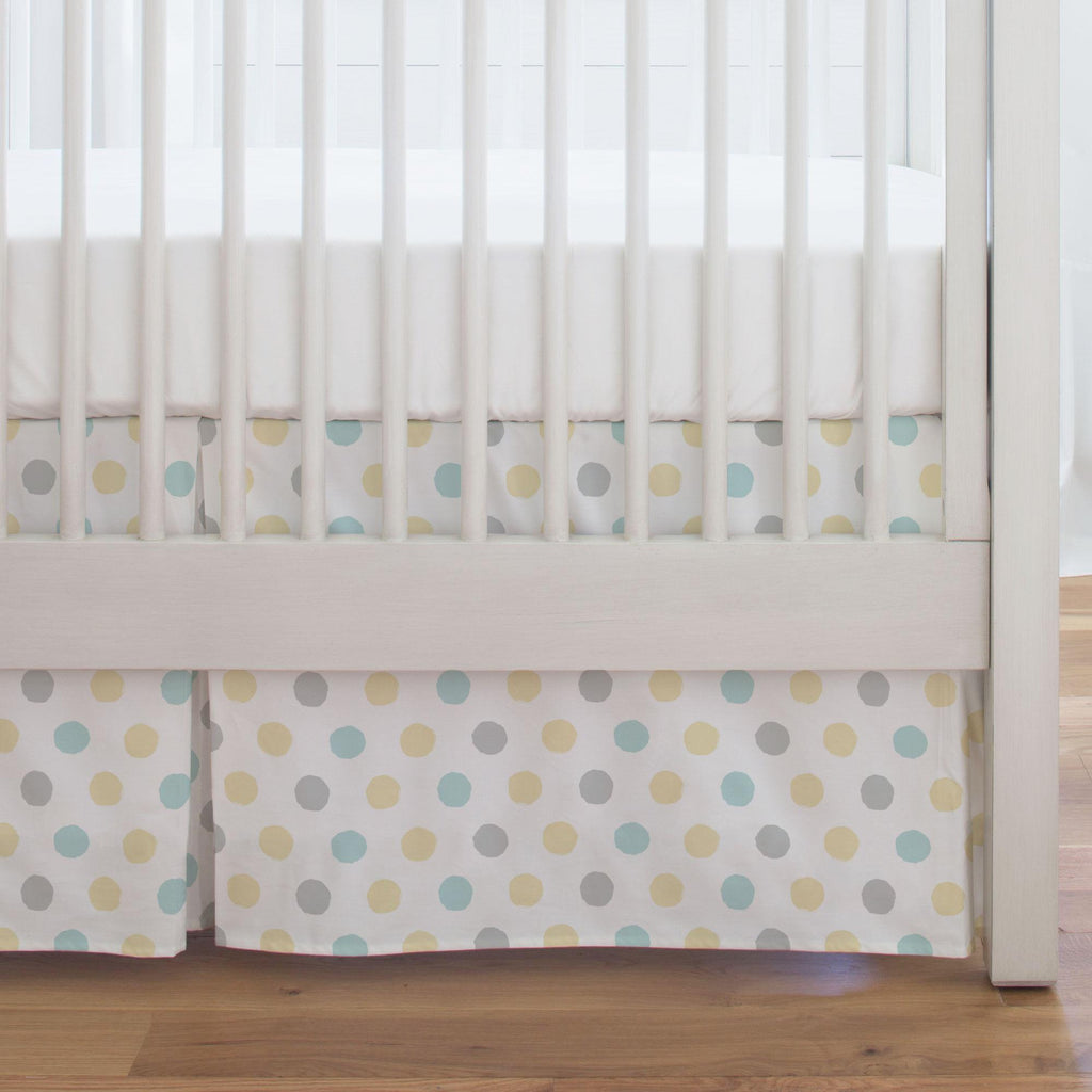 Product image for Mist and Gray Brush Dots Crib Skirt Single-Pleat