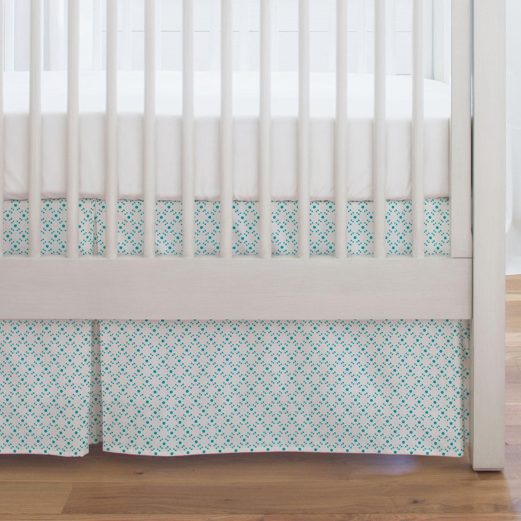 Product image for Teal Lattice Dots Crib Skirt Single-Pleat
