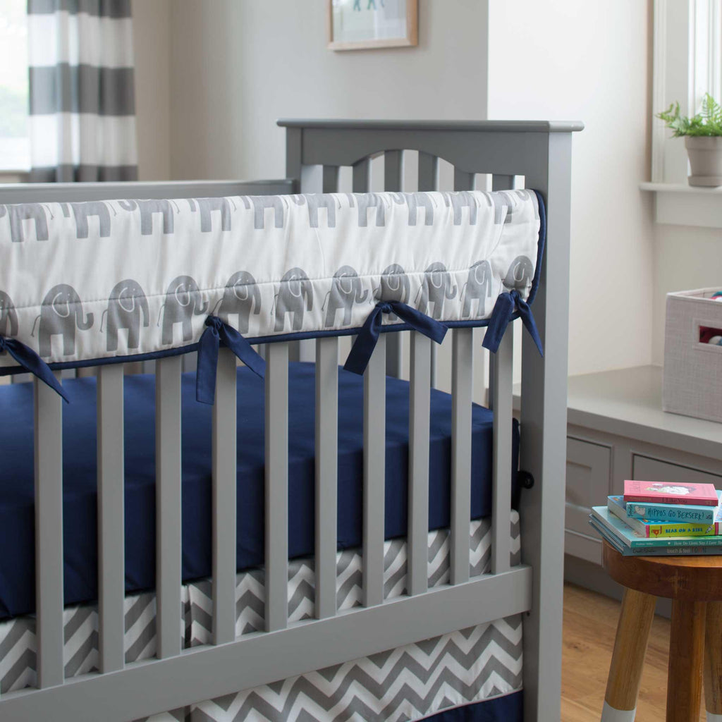 Product image for Navy and Gray Elephants Crib Rail Cover