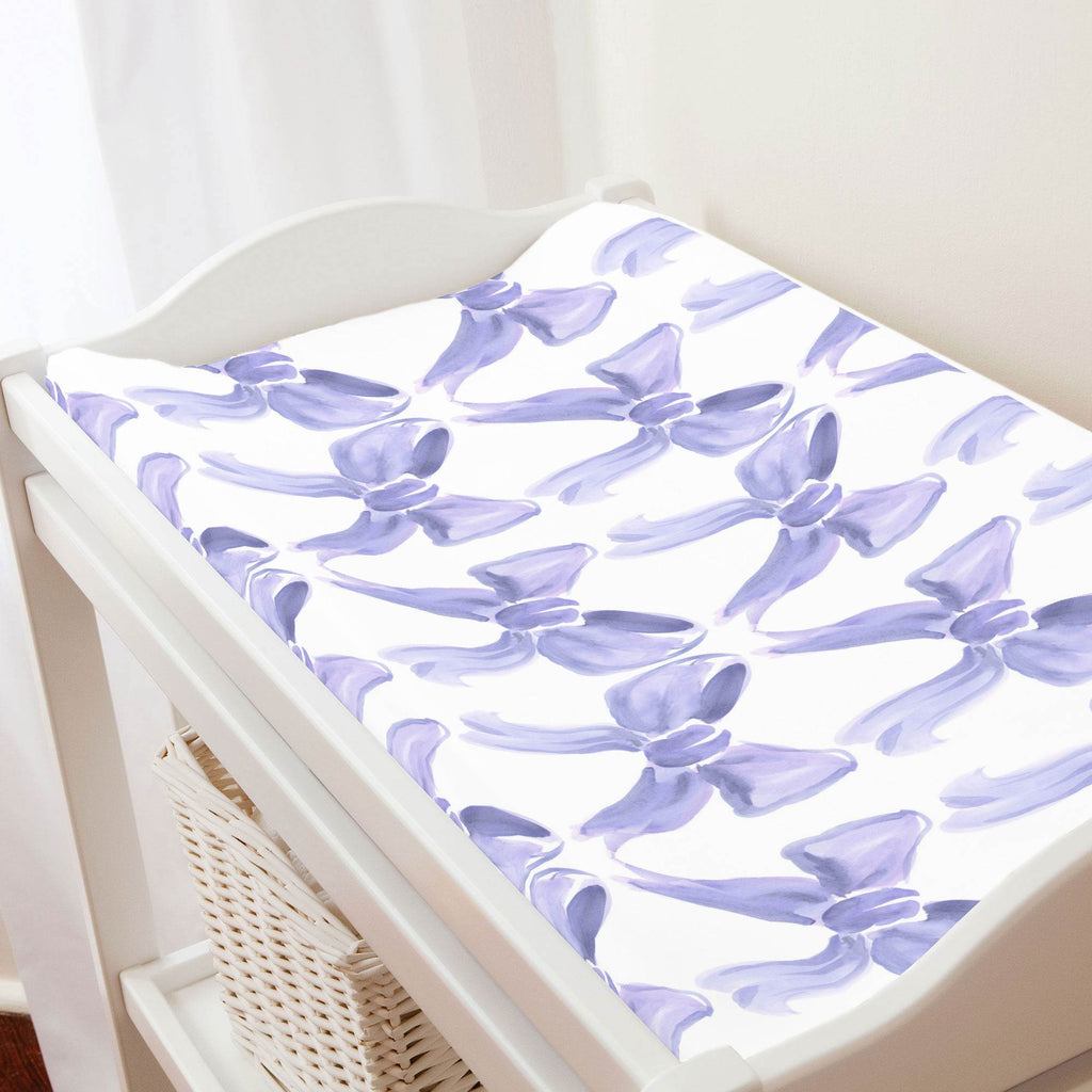Product image for Lilac Watercolor Bows Changing Pad Cover