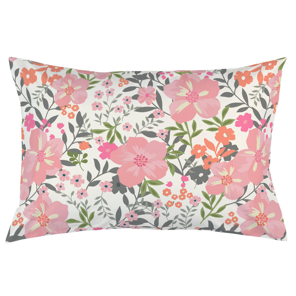 Product image for Pink and Orange Floral Tropic Pillow Case