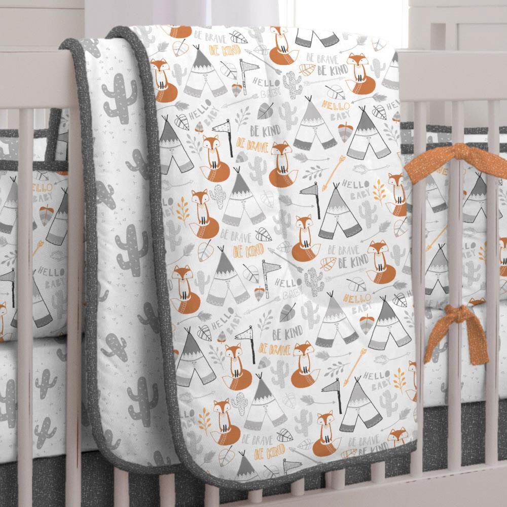 Product image for Brave Fox Crib Comforter with Piping