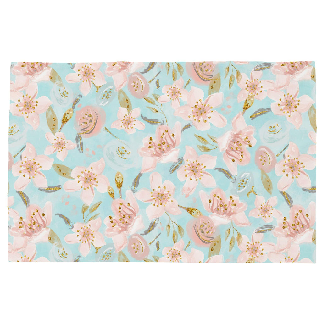 Product image for Aqua and Pink Hawaiian Floral Toddler Pillow Case