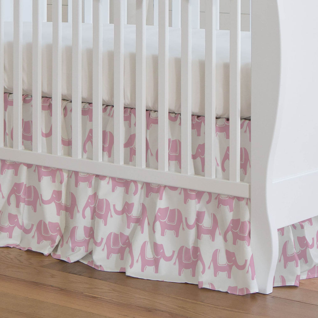 Product image for Bubblegum Pink Marching Elephants Crib Skirt Gathered