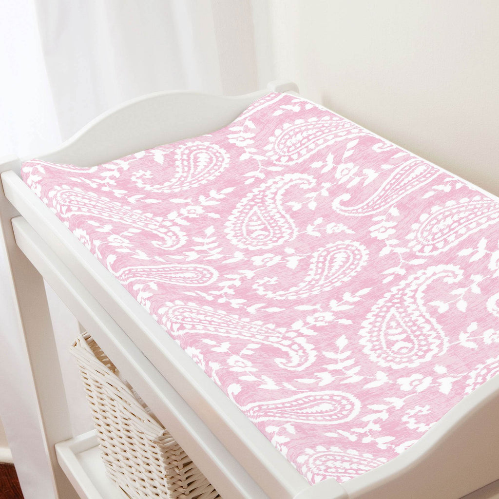 Product image for Pink Paisley Changing Pad Cover