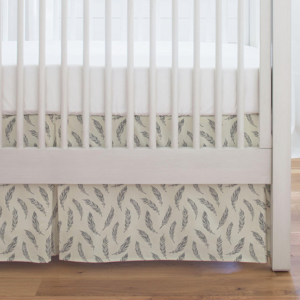Product image for Natural Gray Feathers Crib Skirt Single-Pleat