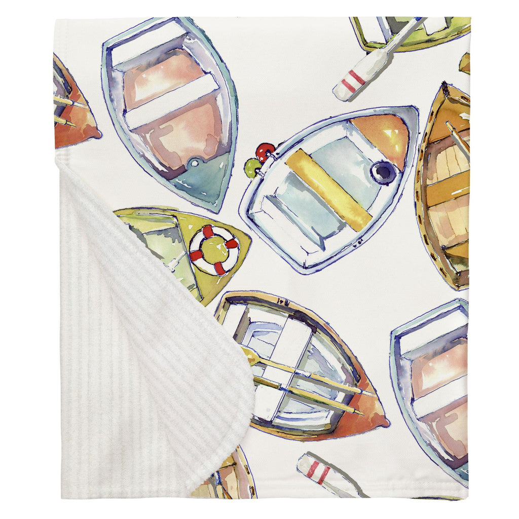 Product image for Watercolor Boats Baby Blanket