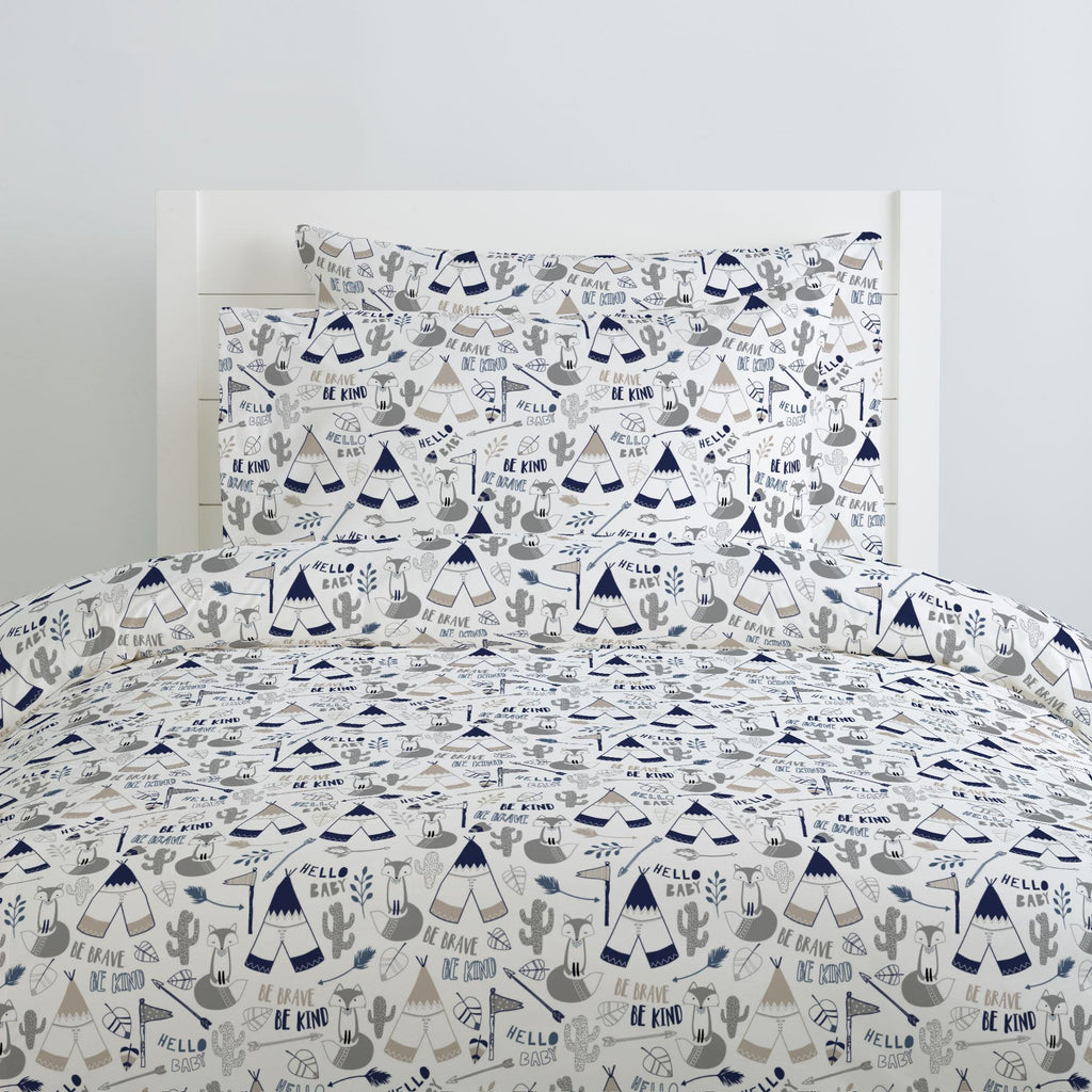 Product image for Navy Brave Fox Duvet Cover