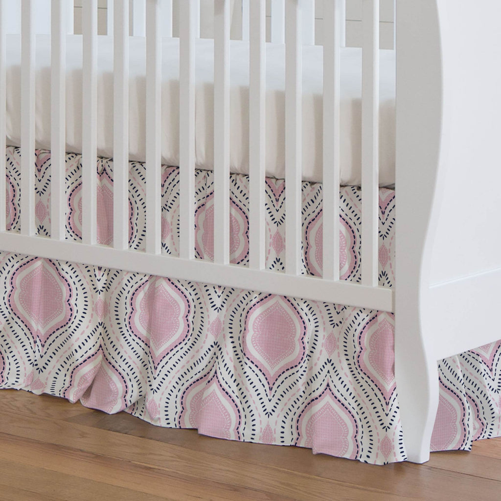 Product image for Pink and Navy Moroccan Damask Crib Skirt Gathered