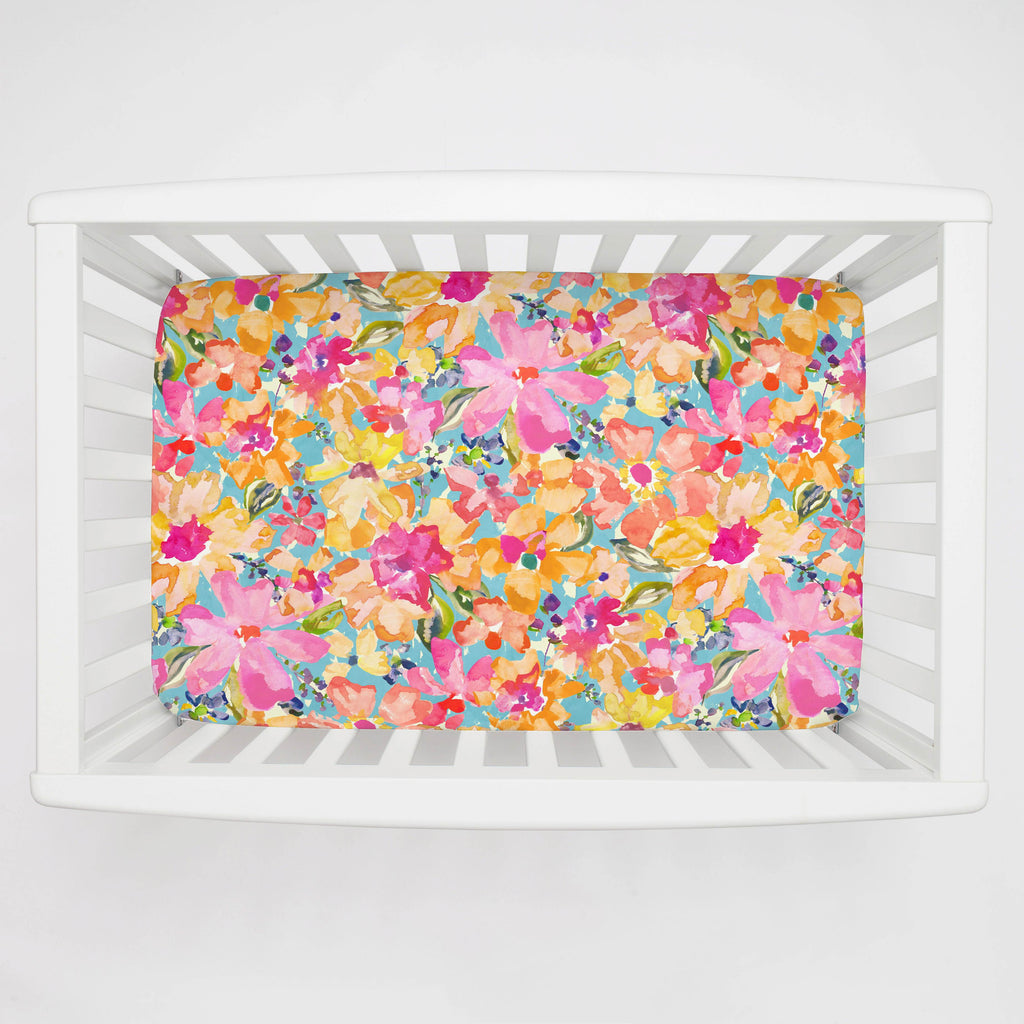 Product image for Coral Flower Bouquet Mini Crib Sheet