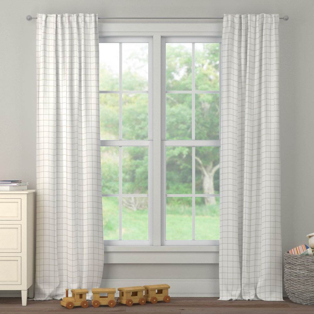 Product image for Taupe Windowpane Drape Panel