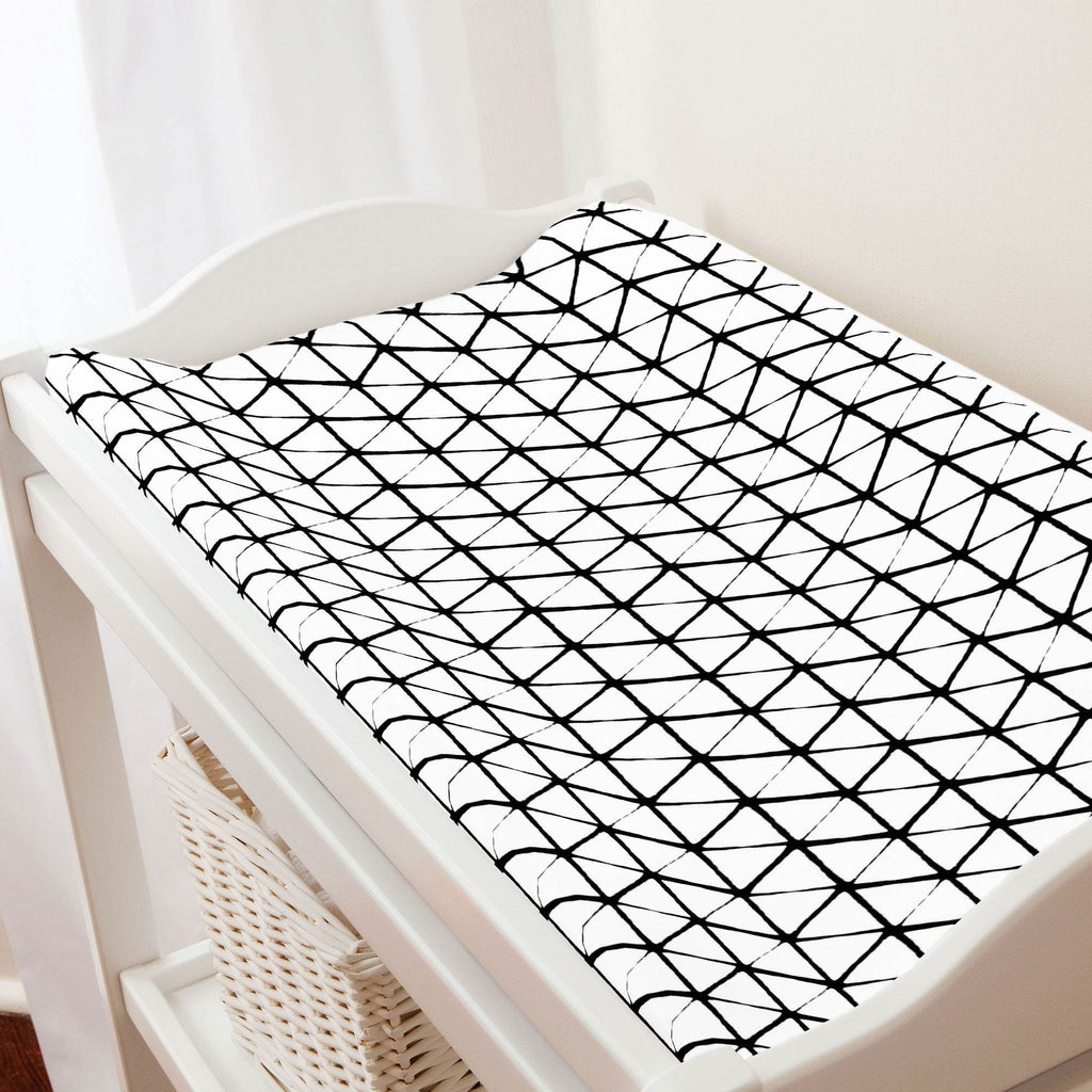 Product image for White and Onyx Aztec Triangles Changing Pad Cover