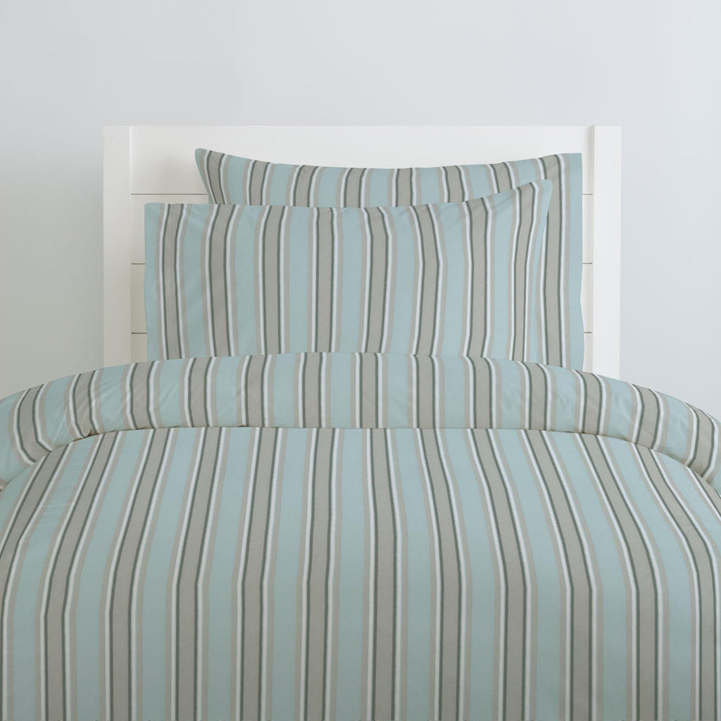 Product image for Mist and Gray Stripe Duvet Cover