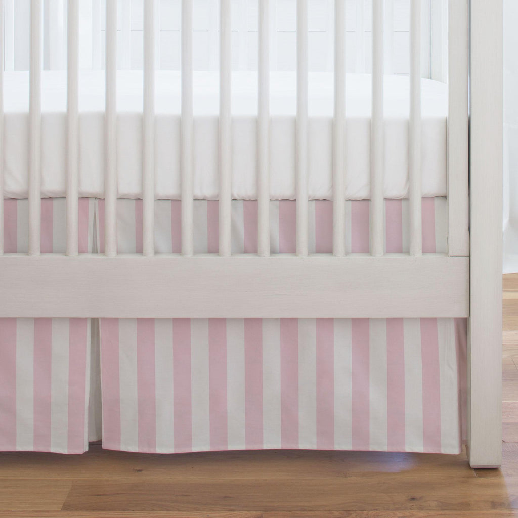 Product image for Pink Stripe Crib Skirt Single-Pleat