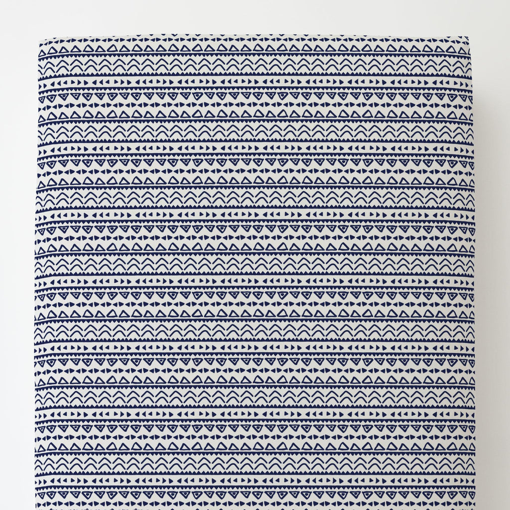 Product image for Windsor Navy Baby Aztec Toddler Sheet Bottom Fitted