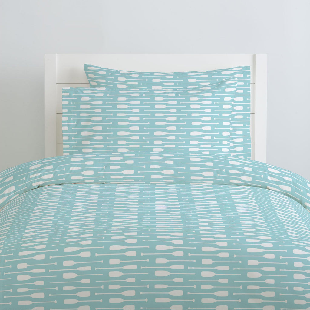 Product image for Seafoam Aqua and White Oars Duvet Cover