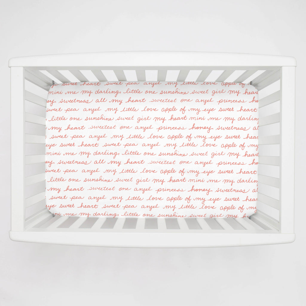 Product image for Light Coral Sweet Girl Mini Crib Sheet