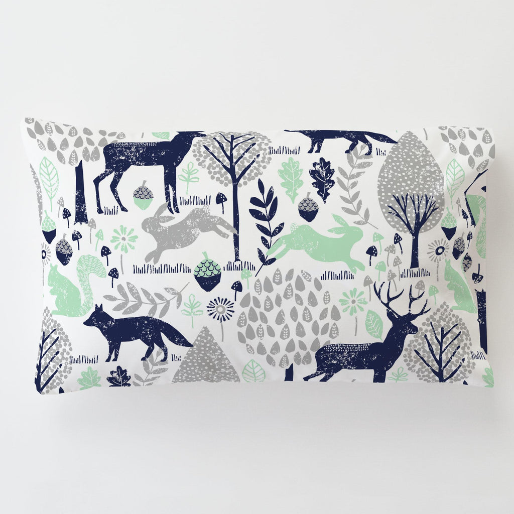 Product image for Navy and Mint Woodland Animals Toddler Pillow Case with Pillow Insert