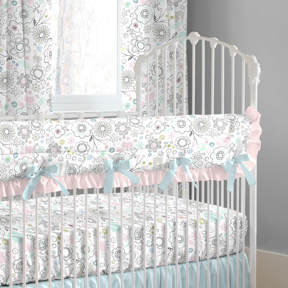 Product image for Pink Spring Doodles Crib Rail Cover