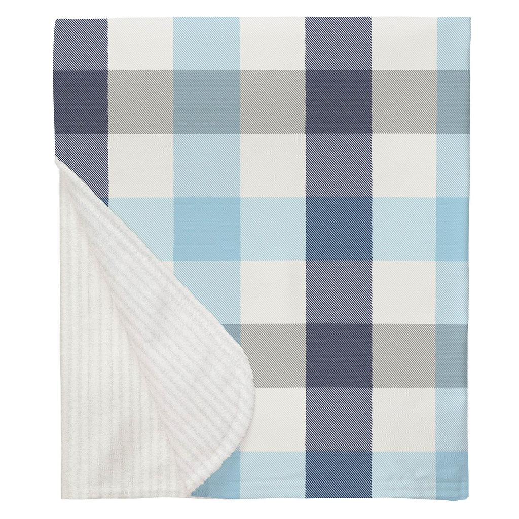 Product image for Navy and Lake Blue Buffalo Check Baby Blanket