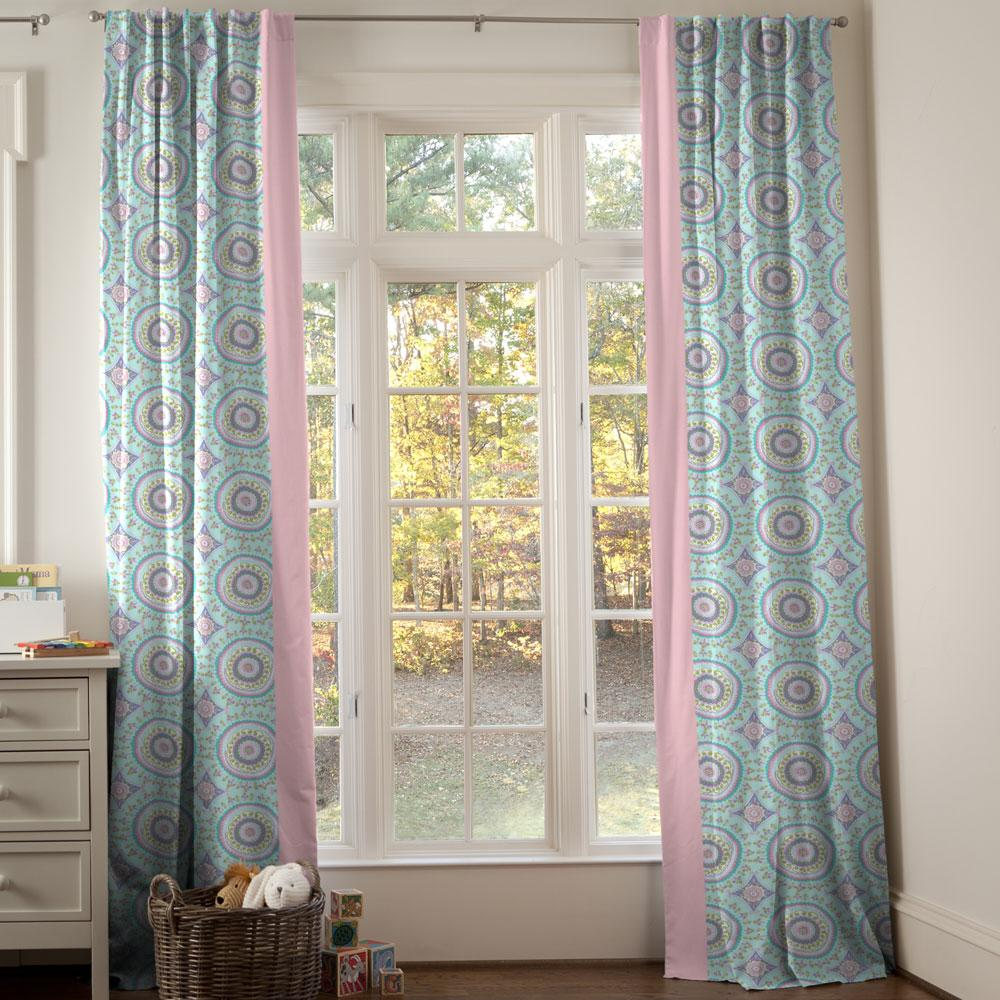 Product image for Aqua Haute Circles Drapes with Trim