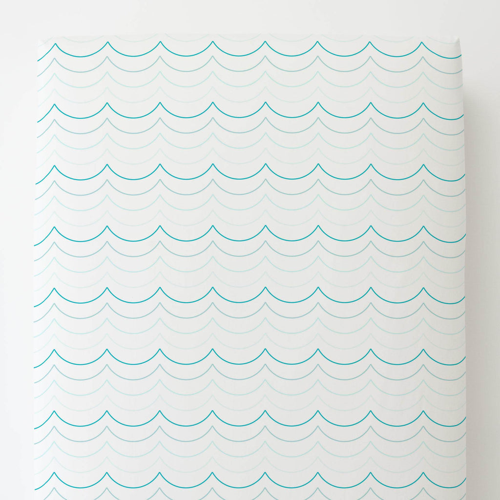 Product image for Teal Wave Stripe Toddler Sheet Bottom Fitted