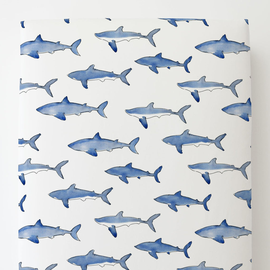 Product image for Blue Sharks Toddler Sheet Bottom Fitted