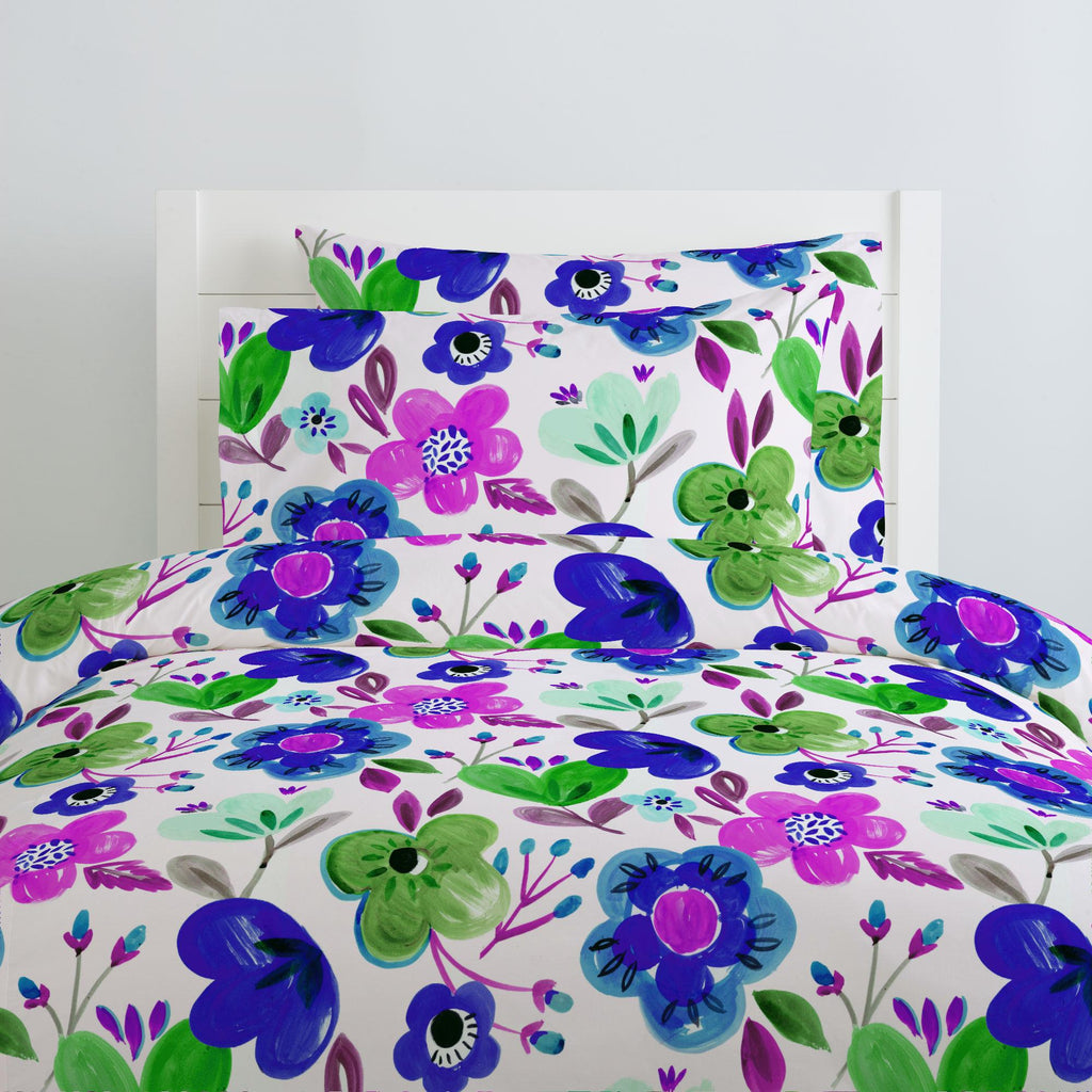 Product image for Purple Painted Flowers Duvet Cover