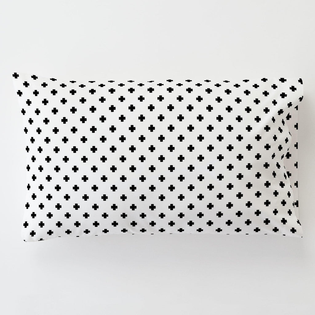 Product image for Onyx Mini Swiss Cross Toddler Pillow Case with Pillow Insert