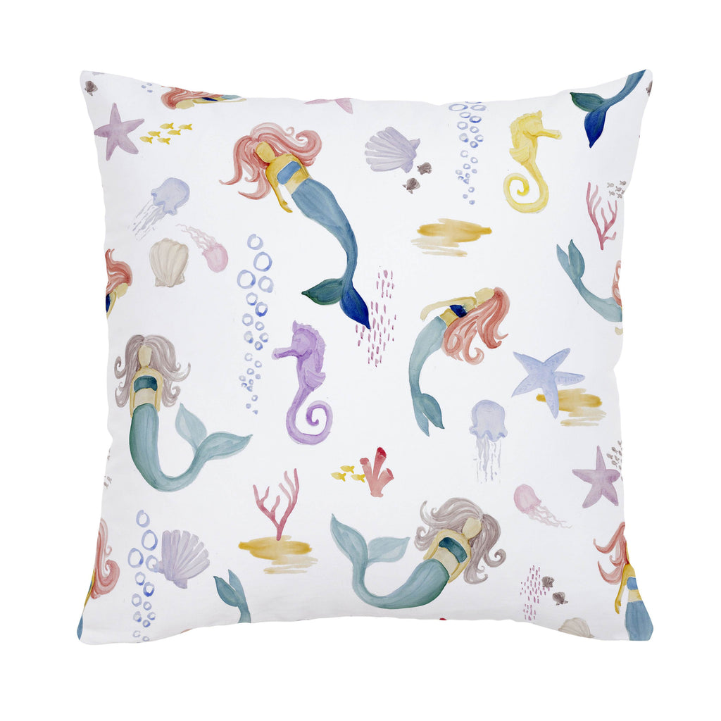 Product image for Watercolor Mermaids Throw Pillow