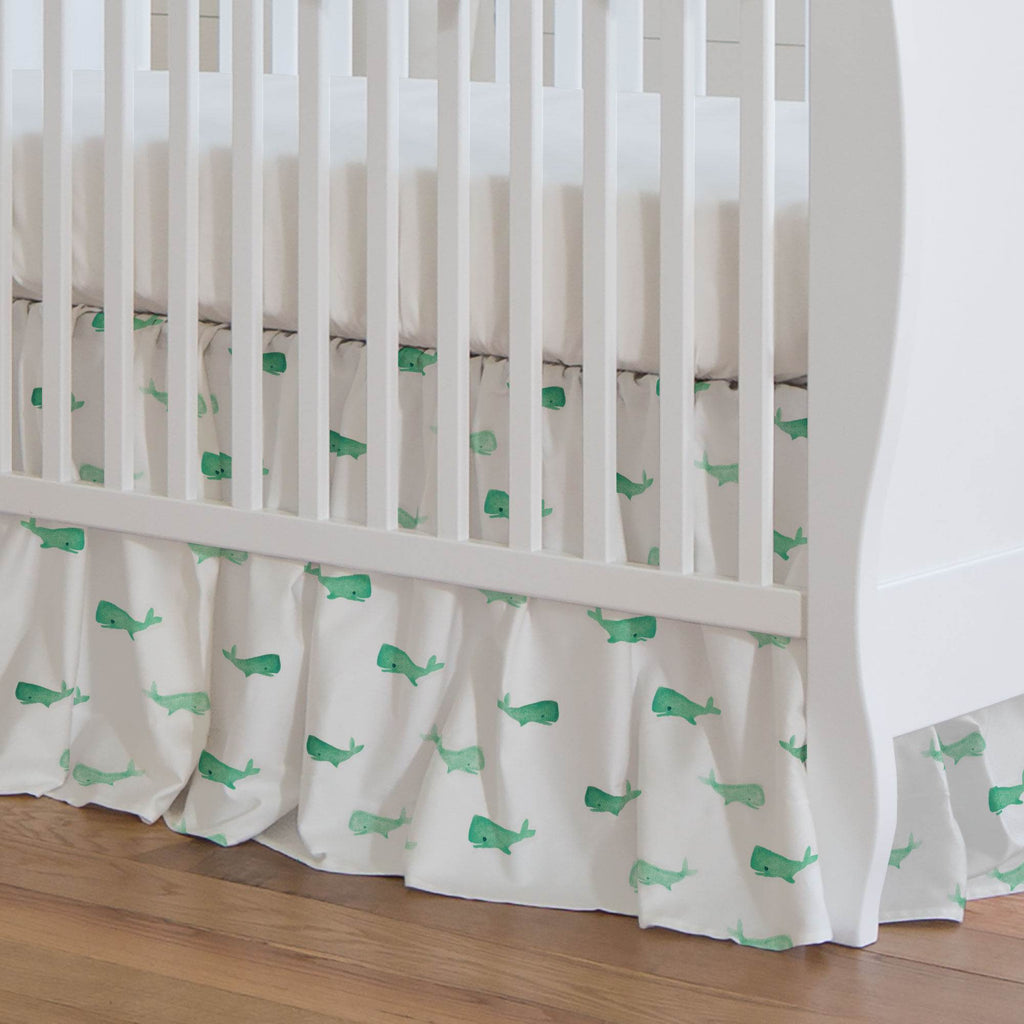 Product image for Mint Whale of a Tale Crib Skirt Gathered