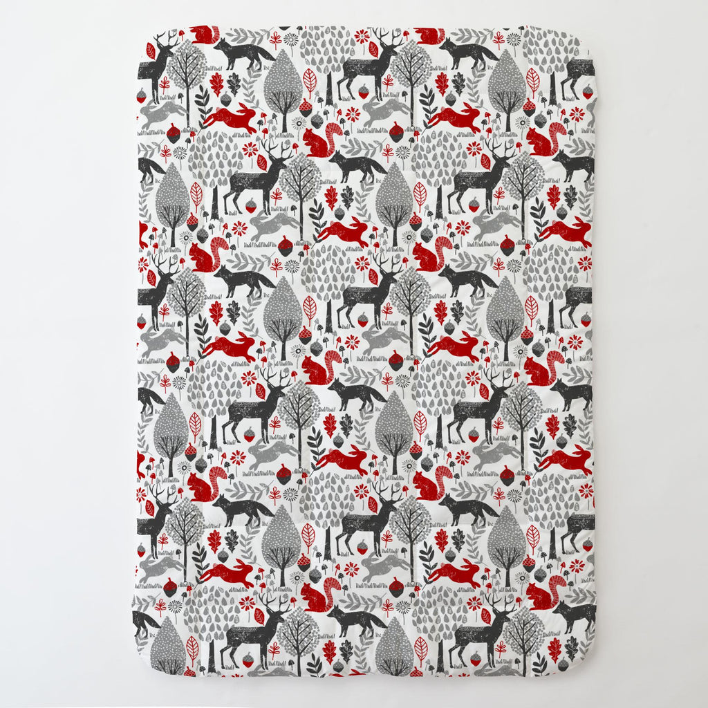 Product image for Red and Gray Woodland Animals Toddler Comforter