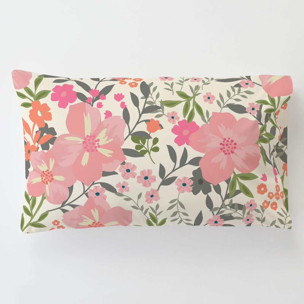 Product image for Pink and Orange Floral Tropic Toddler Pillow Case with Pillow Insert