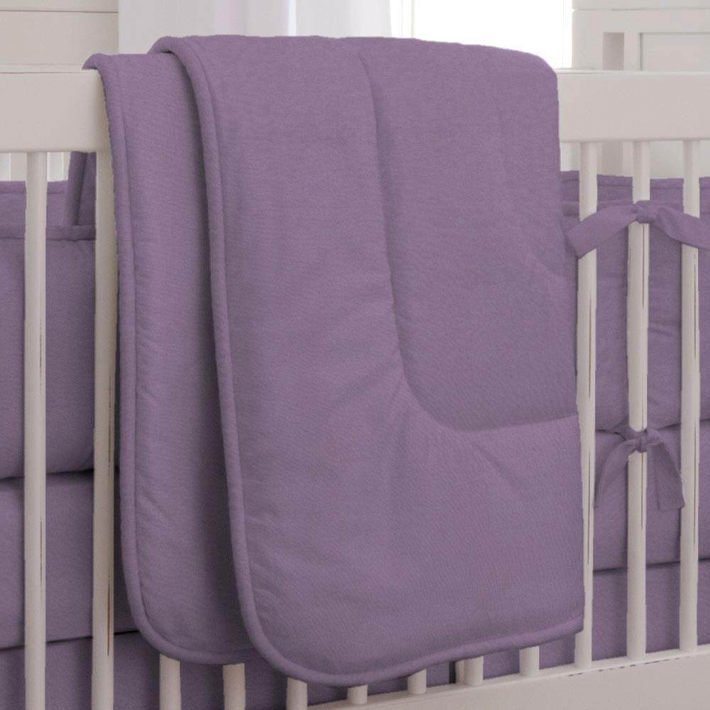 Product image for Solid Aubergine Purple Crib Comforter with Piping