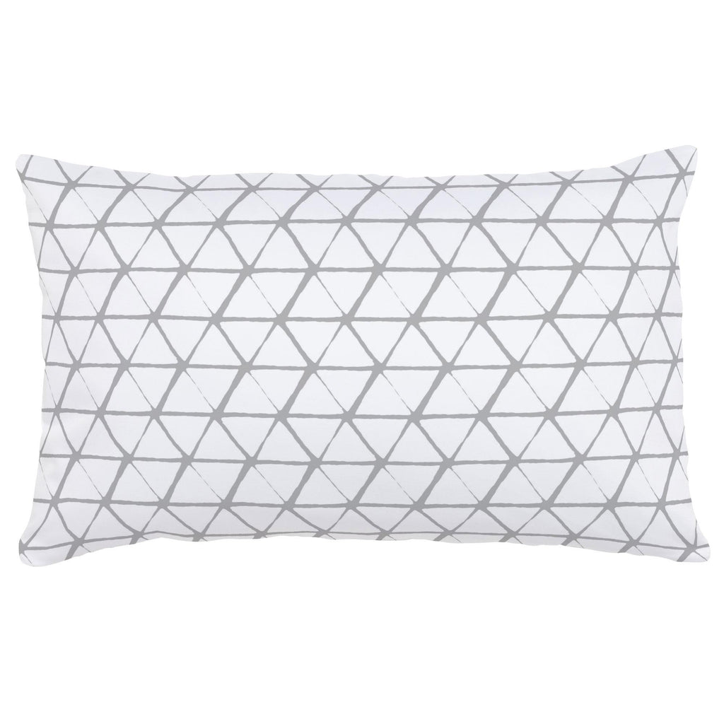 Product image for White and Silver Gray Aztec Triangles Lumbar Pillow
