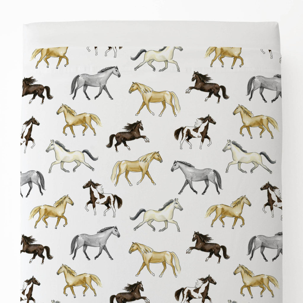 Product image for Watercolor Horses Toddler Sheet Top Flat