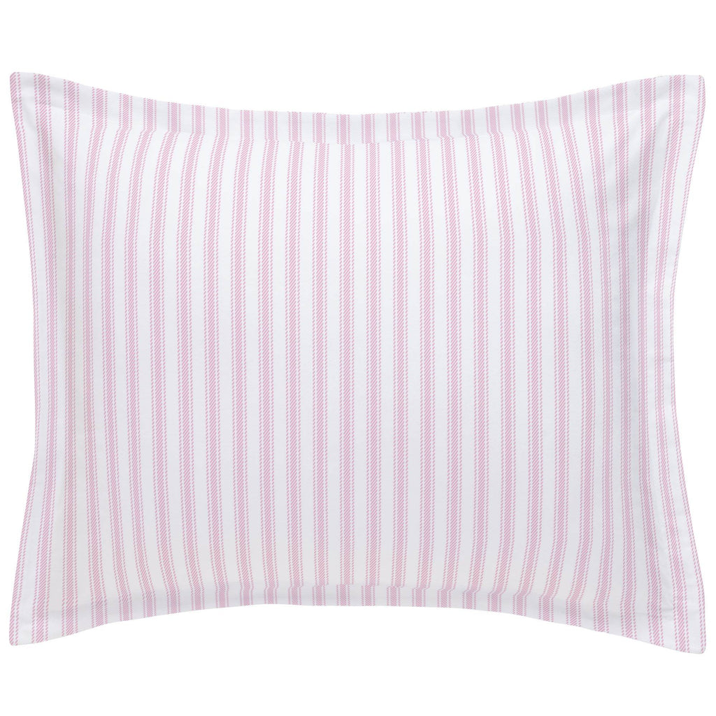 Product image for Bubblegum Pink Ticking Stripe Pillow Sham