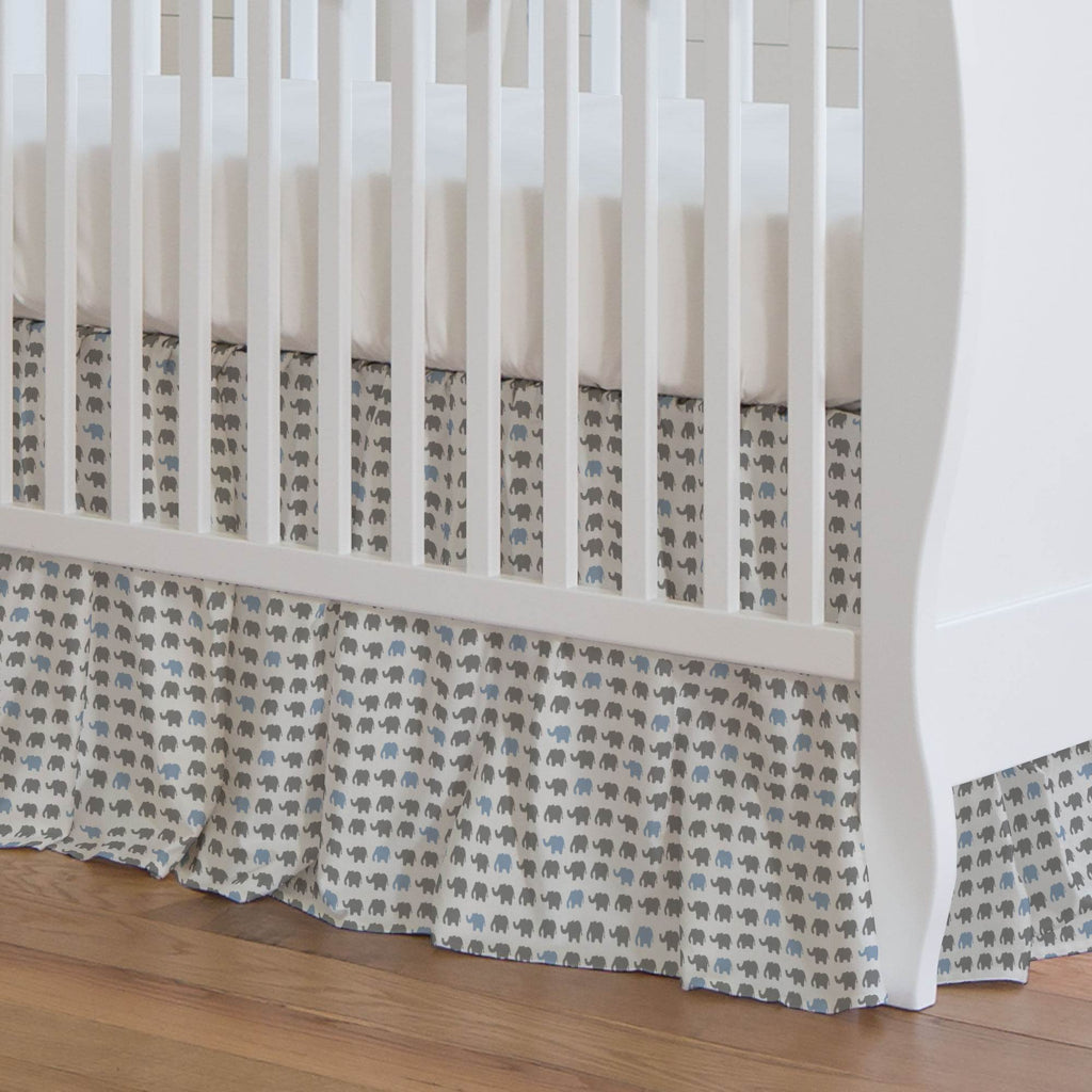 Product image for Gray and Blue Elephant Parade Crib Skirt Gathered