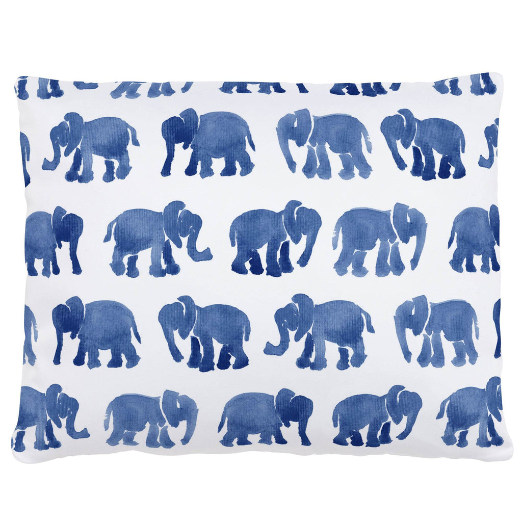 Product image for Blue Watercolor Elephants Accent Pillow