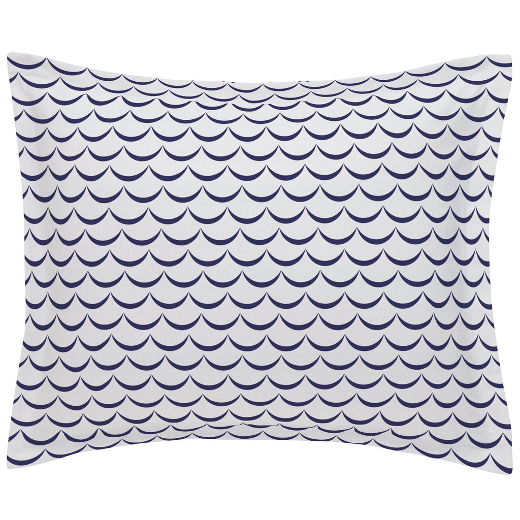 Product image for White and Navy Waves Pillow Sham