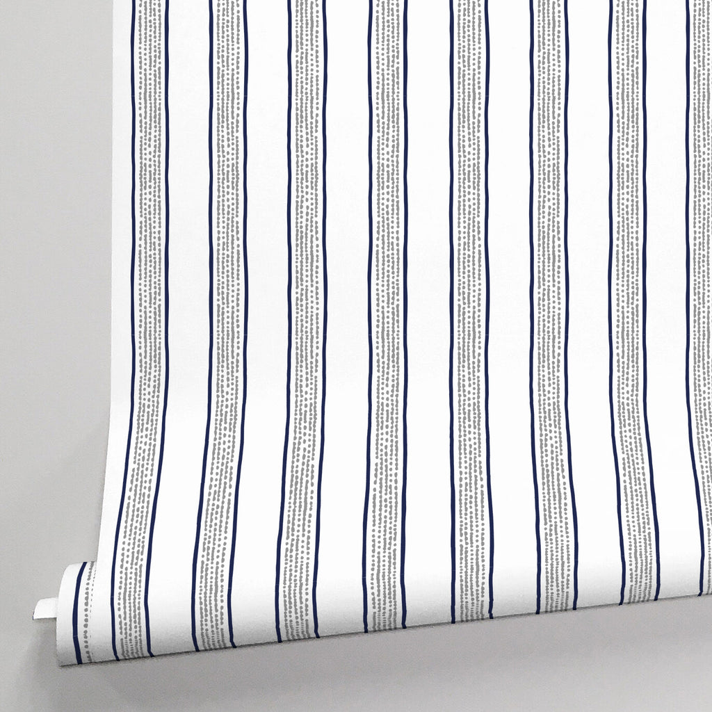 Product image for Navy And Gray Beach Stripe Wallpaper Panel