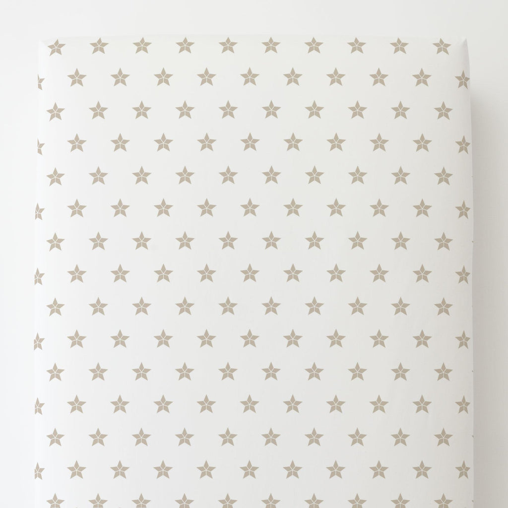 Product image for Taupe Mosaic Stars Toddler Sheet Bottom Fitted