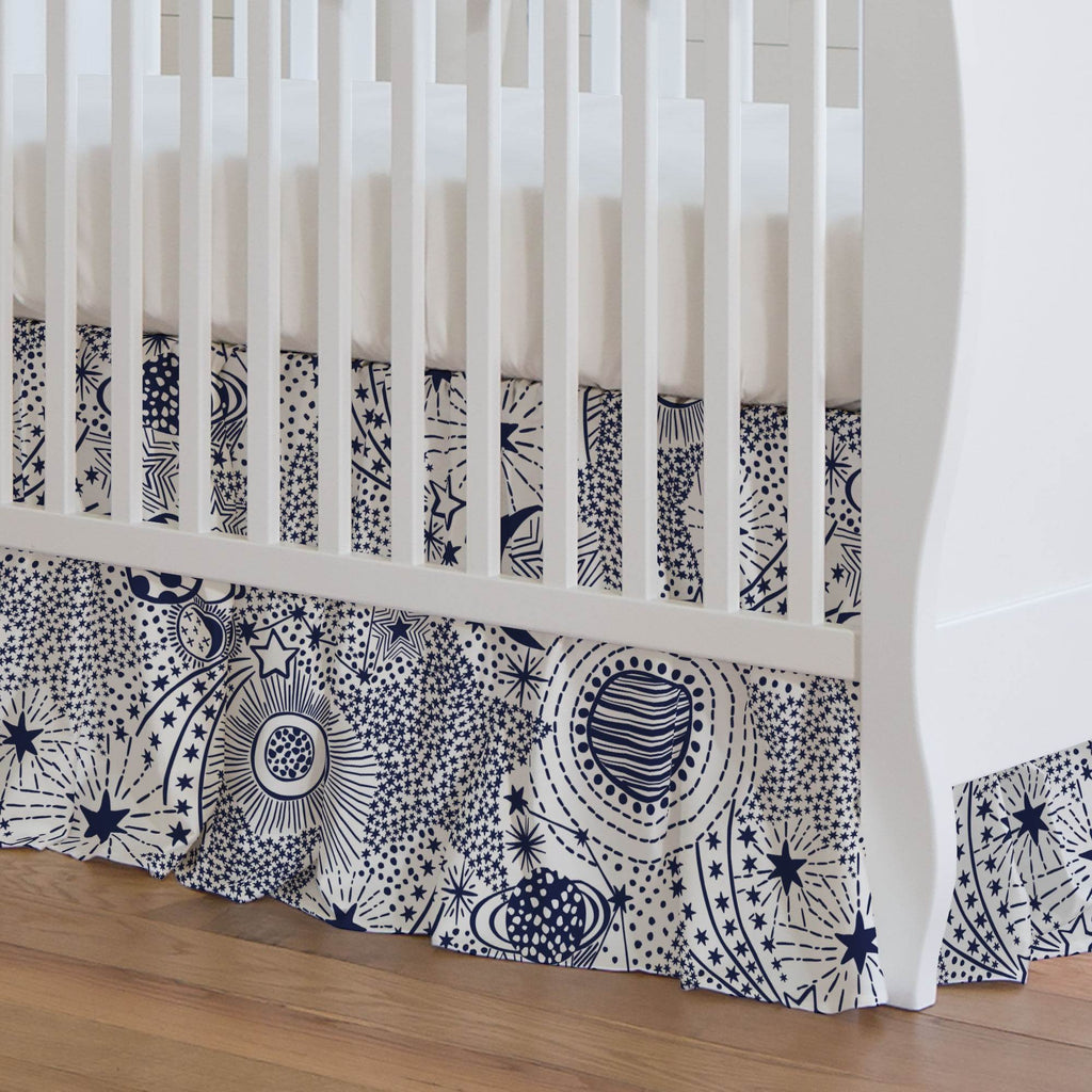 Product image for Navy Galaxy Crib Skirt Gathered