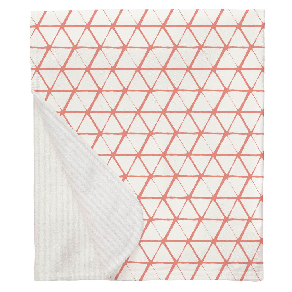 Product image for White and Light Coral Aztec Triangles Baby Blanket