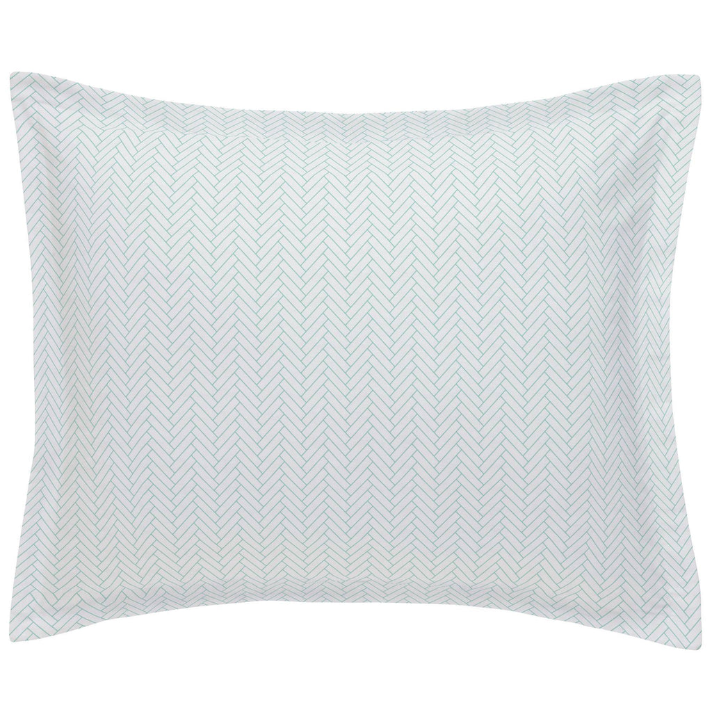 Product image for White and Mint Classic Herringbone Pillow Sham