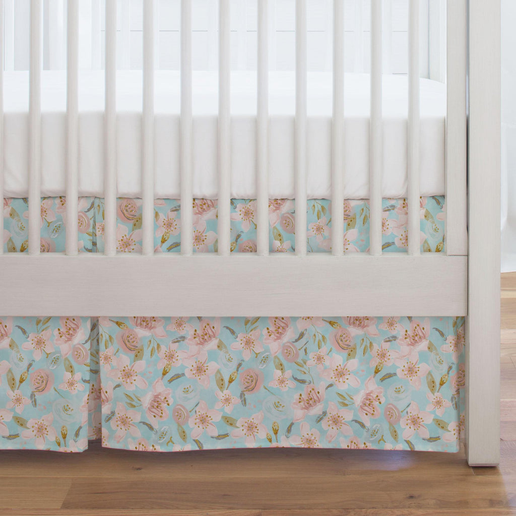 Product image for Aqua and Pink Hawaiian Floral Crib Skirt Single-Pleat