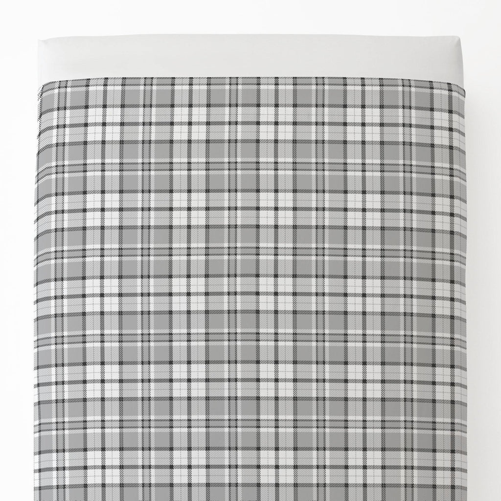 Product image for Gray Plaid Toddler Sheet Top Flat