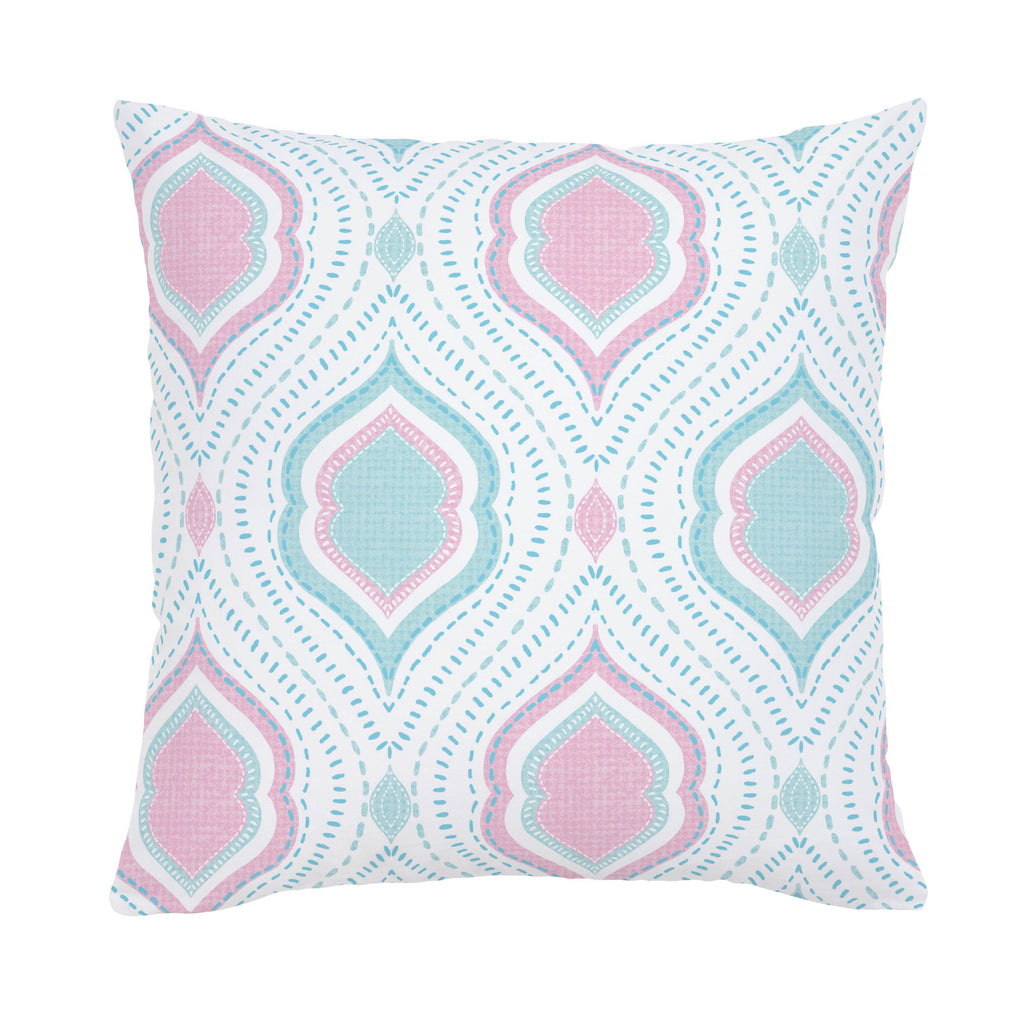 Product image for Seafoam Aqua and Pink Moroccan Damask Throw Pillow