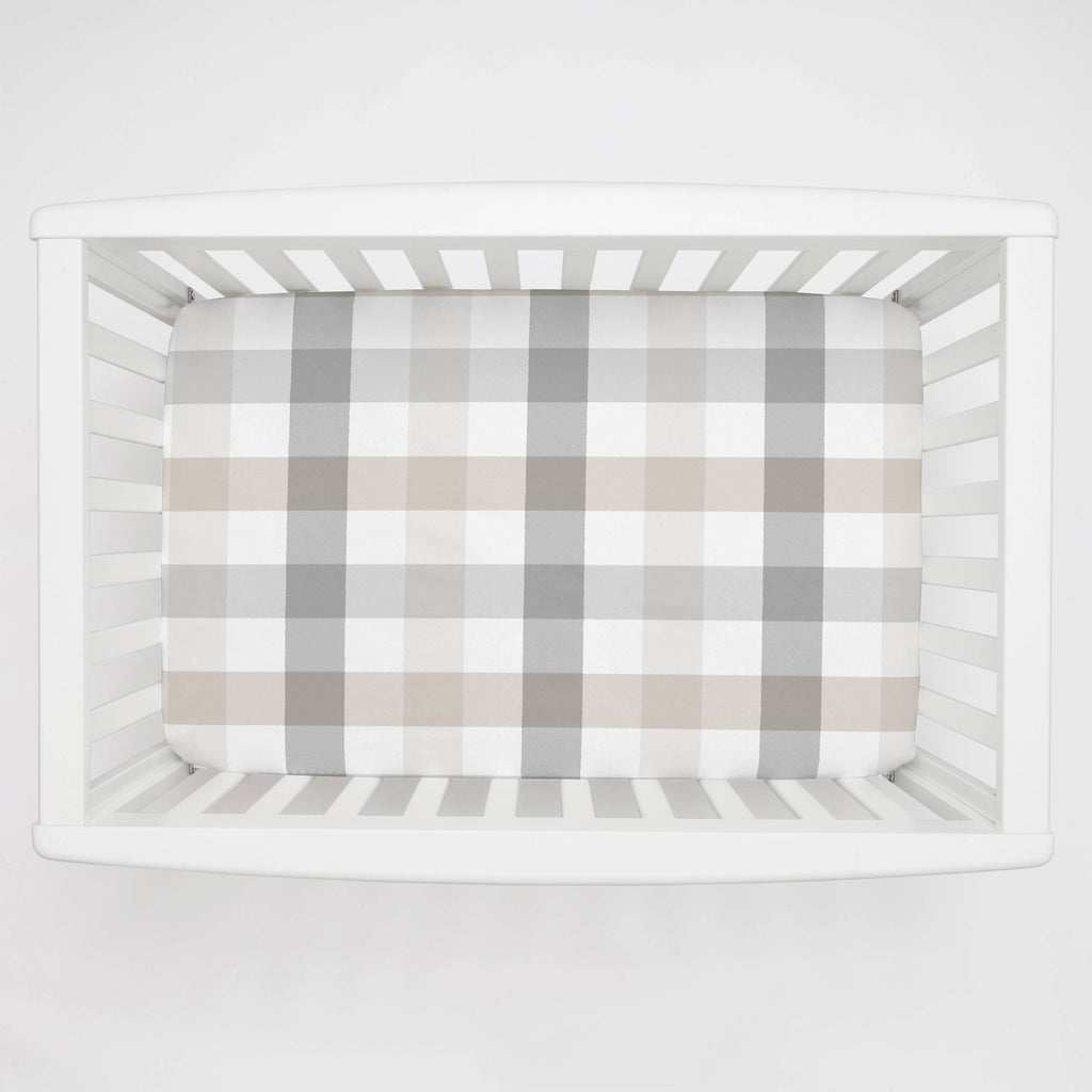 Product image for Gray and Taupe Buffalo Check Mini Crib Sheet
