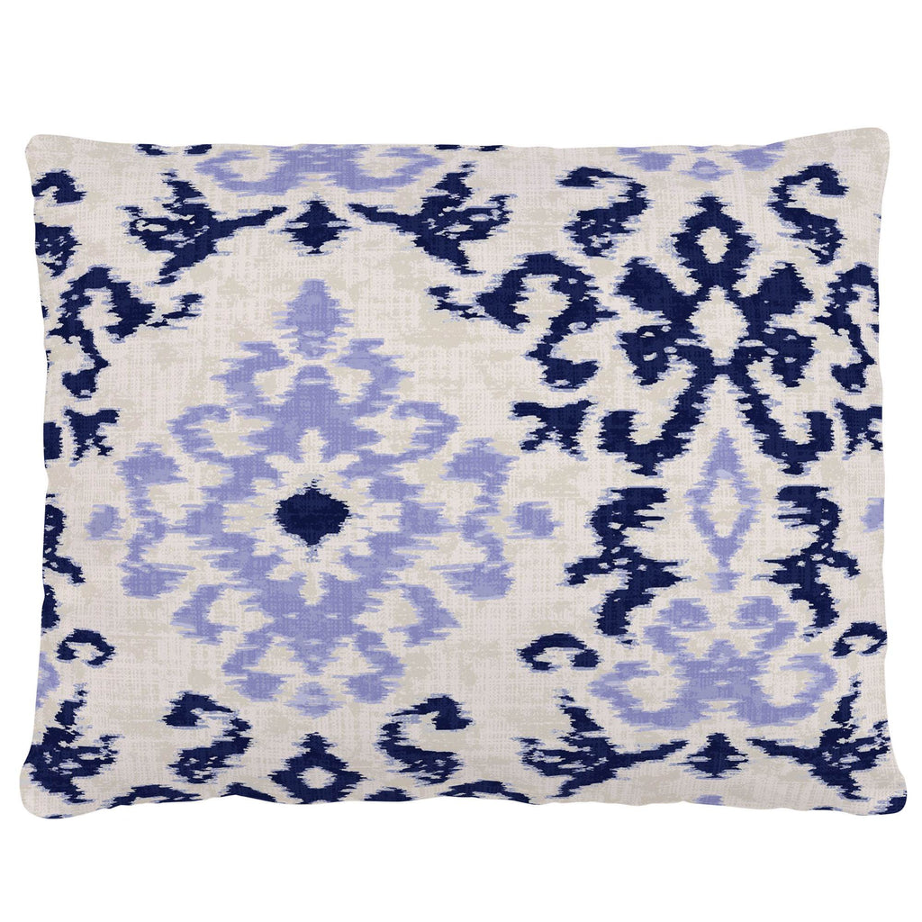 Product image for Navy and Lavender Ikat Damask Accent Pillow